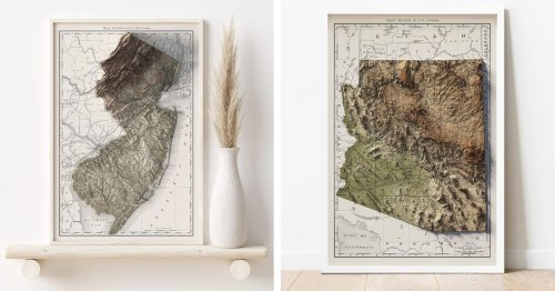 Commemorate Your Favorite Place With a Custom Relief-Style Map for Your Home