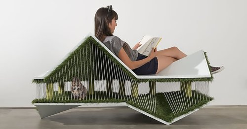 Playful 'catHAUS' Lets Humans Lounge on a Chic Mini House Built for Cats To Play In