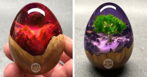 "Shimmering ""Dragon Eggs"" Reveal Faraway Landscapes Within Resin and Wood"
