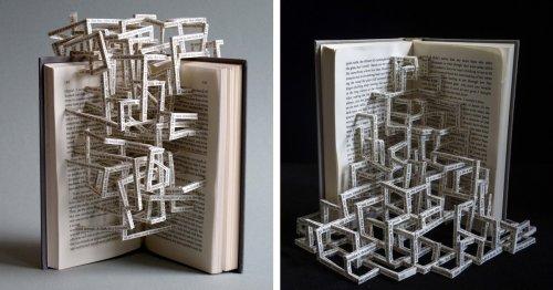 Artist Transforms Books Into Complex Sculptures Made of Interlocking Text