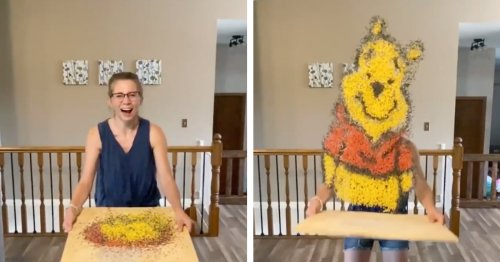 Artist Tosses Colorful Rice To Create 3D Portraits of Pop Culture Characters in Mid-Air