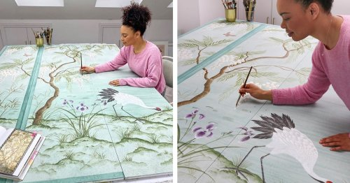 Watercolorist Carries On Centuries-Old Tradition by Painting Ethereal Designs on Silk