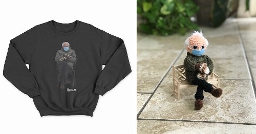 """""""Inauguration Bernie"""" Meme Is Now Available as a Sweatshirt and a Crochet Doll Pattern"""
