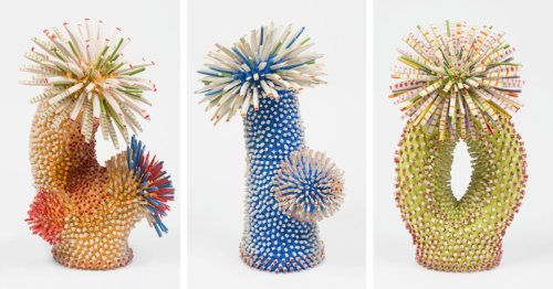 Otherworldly Botanical Sculptures Formed With Thousands of Porcelain Shards