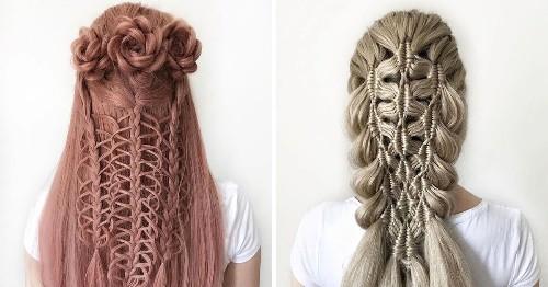 German Teenager Creates Amazing Hairstyles That Look Like Intricate Crochet Patterns