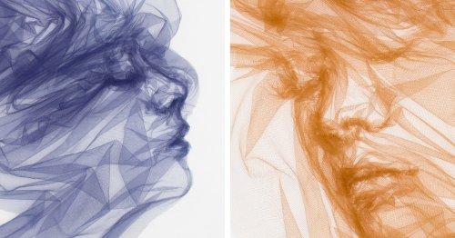 Cet Artiste Transforme des Longueurs de Tulle en Visages Méditatifs