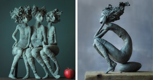 Lyrical Sculptures of Expressive Women Tell Stories Through Body Language and Big Hair