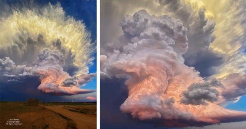 Photographer Captures Fiery Storm Cloud in Texas That Looks Like an Explosion in the Sky