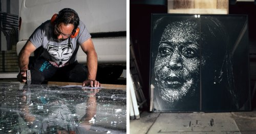 Artist Shatters Glass to Create Striking Portrait of History-Making VP Kamala Harris