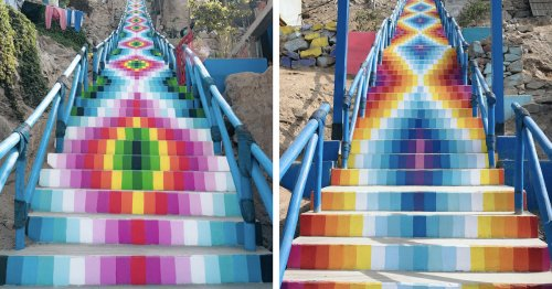 Beautiful Painted Staircases Inspired by Andean Textiles Transform the Hills of Lima, Peru