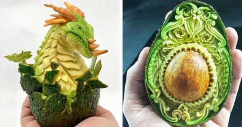 Master Fruit Carving Artist Creates Sensational Food Art With Avocados