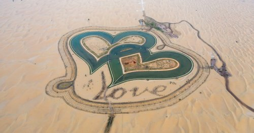 Dubai Has a Heart-Shaped 'Love Lake' in the Middle of the Desert