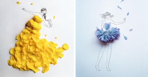 Japanese Artist Uses Real Flower Petals To Complete Ethereal Fashion Illustrations