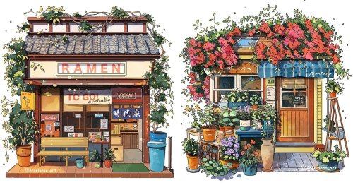 Artist Illustrates Comforting Japanese Storefronts Found on Google Street View