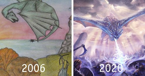 Artist Recreates Dragon Drawing To Show What Years of Dedicated Practice Does for Your Art