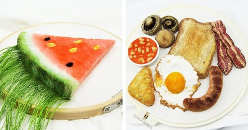 British Artist Stitches 3D 'Embroidered Edibles' That Look Real Enough To Eat