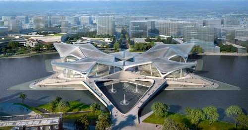 Zaha Hadid Architects' Stunning New Civic Art Center Is Now Under Construction in China
