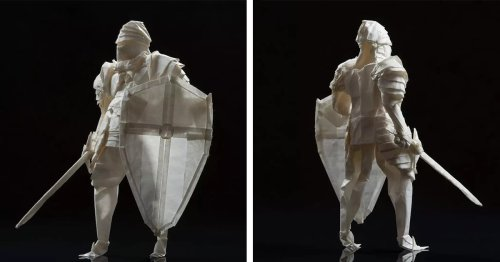 Origami Artist Creates Medieval Knight With a Sword and Shield From a Single Piece of Paper