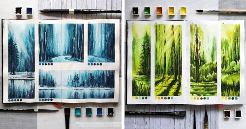 Beautiful Watercolor Studies Capture the Tranquility of Nature