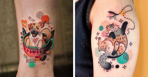 These Colorful Animal Tattoos Look Like Action-Packed Comic Book Characters
