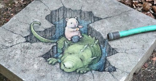 Artist Brings the Sidewalk to Life With His Charming Chalk Art Characters