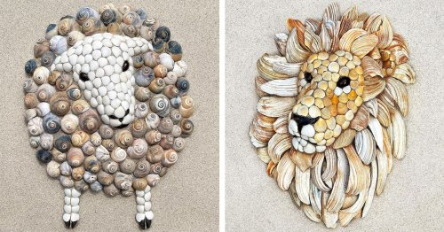 Artist Creates Charming Animal Sculptures From Found Seashells at the Beach