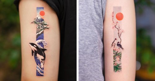 Delicate Tattoos Inspired by Traditional Chinese Painting Tell Stories Within Long Rectangles