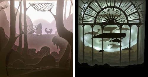 Enchanting Hand-Crafted Paper Scenes Come To Life in Illuminated Light Boxes
