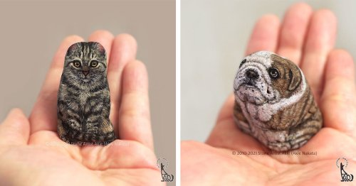 Artist Transforms Ordinary Rocks Into Lifelike Animals You Can Hold in Your Hand
