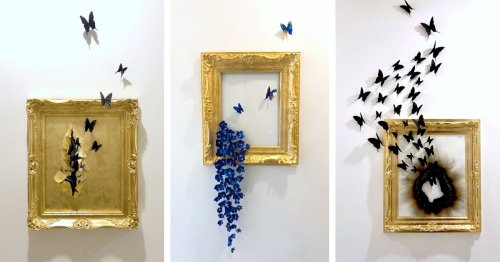 Swarms of Metal Butterflies and Flowers Emerge From Gilded Frames and Distressed Canvases