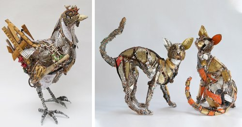 Upcycling Artist Turns Scrap Metal and Discarded Objects Into Lifelike Animal Sculptures