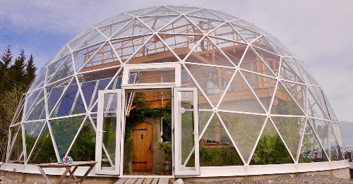 Family Lives in the Arctic Circle by Building Cob House in a Solar Geodesic Dome