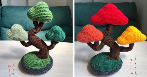 Japanese Artist Crafts Adorable Knitted Bonsai Trees