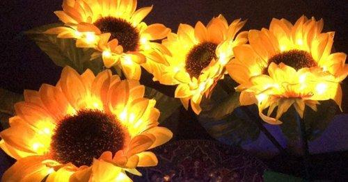 These Solar-Powered Sunflower Lights Illuminate Your Garden at Night