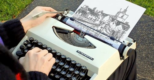 """Artist """"Prints"""" Amazing Landscapes and Portraits Using Only the Characters on a Typewriter"""