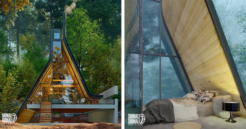 Popular A-Frame Cabin Style Is Reimagined To Include a Clever Water Feature in Its Design