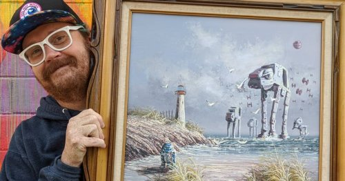 Artist Adds 'Star Wars' To Discarded Paintings He Finds in Thrift Stores