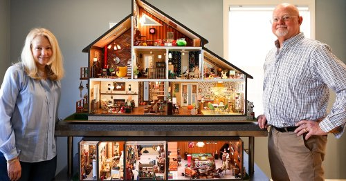 Couple Spends 2.5 Years Building a Miniature Mid-Century Modern House Inspired by Their Childhood Homes