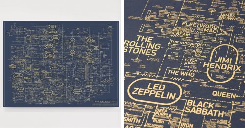 This Intricate Blueprint Poster Charts the Golden History of Rock and Roll Music