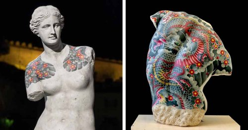 Classical Marble Sculptures Recreated With a Contemporary Suit of Tattoos