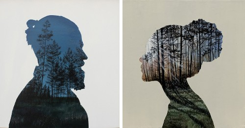 """Silhouetted Paintings Reveal the Lush """"Inner Landscapes"""" of Our Minds"""