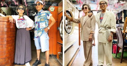 Adorable Elderly Couple Has Fashion Photo Shoots Using Clothing Left Behind in Their Laundromat