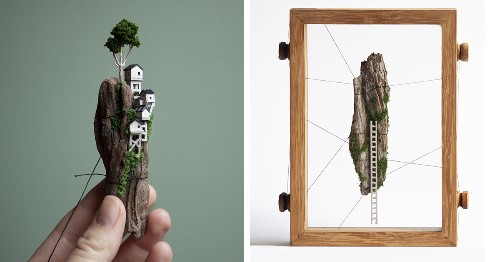 Artist Handcrafts Tiny Floating Islands With Enchanting Little Houses Embedded in Them