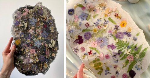 Resin Crystal Trays Preserve Real Flowers Inside Their Glossy Surfaces
