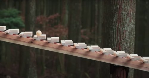 Ball Rolling Down a Giant Wooden Xylophone in a Japanese Forest Plays a Classical Bach Symphony