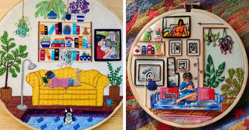 Interior Embroideries Capture the Personal Pleasure of Being Around Your Favorite Things