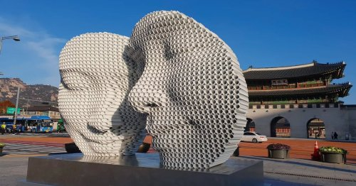 Mesmerizing Halftone Sculptures Made From Hundreds of Metal Pipes Fused Together