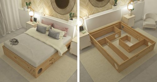 Ingenious Bed Frame Has a Place for Cats to Play While Their Humans Rest
