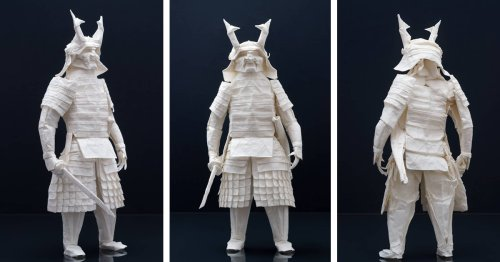 Artist Spends 3 Months Planning and Folding Origami Samurai From a Single Sheet of Paper