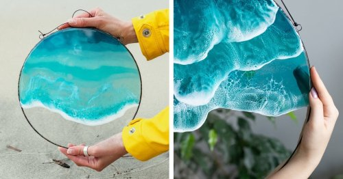 Glass and Resin Wall Art Perfectly Captures the Tranquil Beauty of Ocean Waves